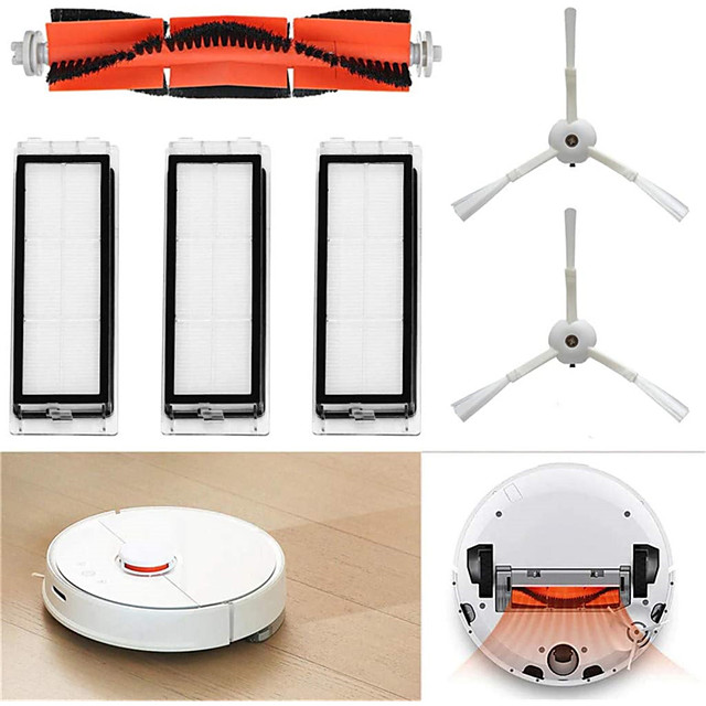 for Xiaomi Mi Robot Vacuum Cleaner Replacement Parts Accessories Set 1 Main Brush 2 Side Brushes 3 Washable Filters