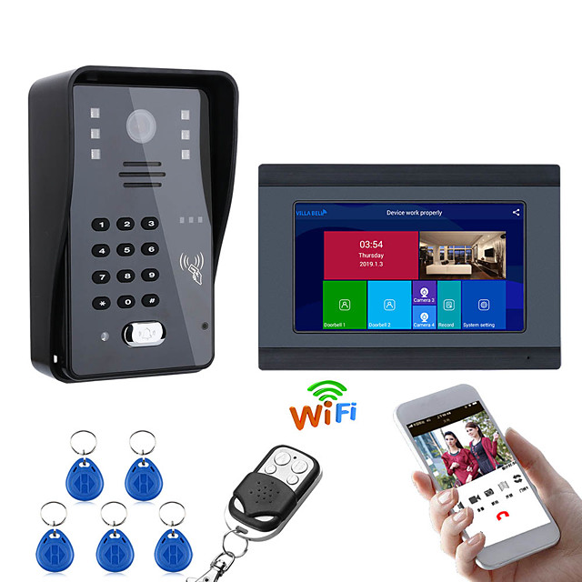 7inch Wired / Wireless Wifi RFID Password Video Door Phone Doorbell Intercom Entry System With IR-CUT 1000TVL Wired Camera Night VisionSupport Remote APP UnlockingRecordingSnapshot
