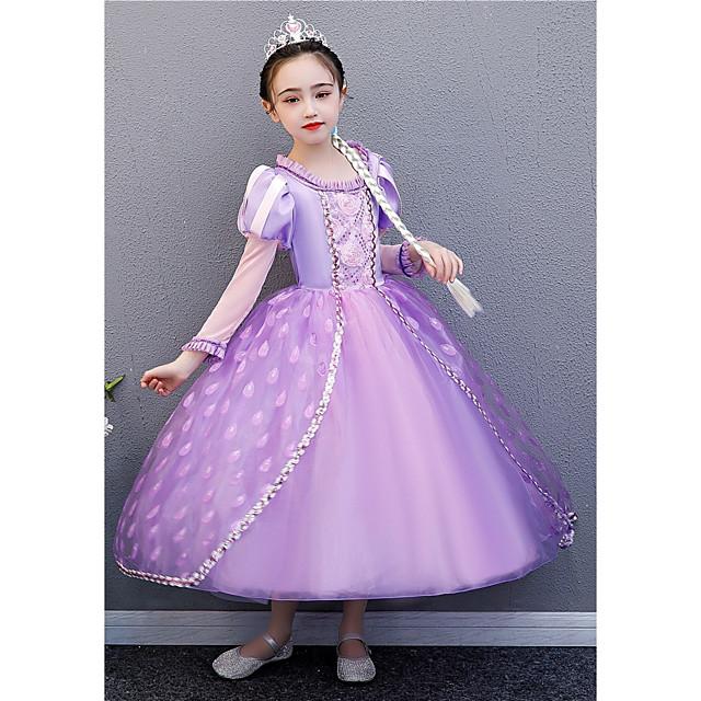 Princess Rapunzel Dress Flower Girl Dress Girls' Movie Cosplay A-Line Slip Purple Dress Halloween Children's Day Masquerade Polyester