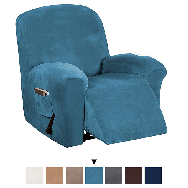 Recliner Chair Cover Velvet Plush 1-Piece Recliner Covers for Large Recliner, Soft Thick Luxury Velvet Furniture Protector with Elastic Bottom, Anti-Slip Foams Attached