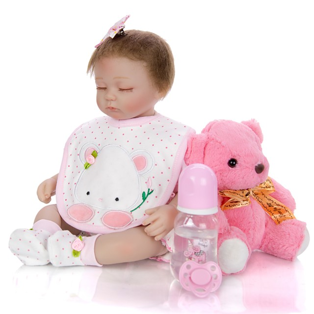 KEIUMI 16 inch Reborn Doll Baby & Toddler Toy Reborn Toddler Doll Baby Girl Gift Cute Lovely Parent-Child Interaction Tipped and Sealed Nails Half Silicone and Cloth Body with Clothes and Accessories