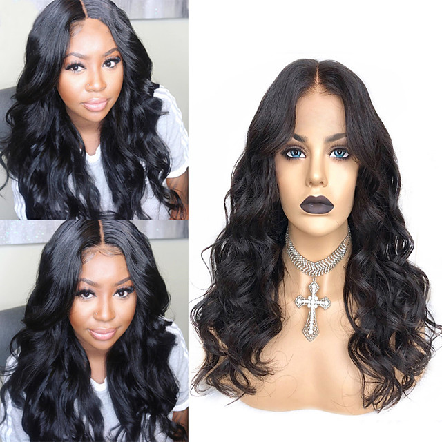 Synthetic Wig Body Wave with Baby Hair Wig Very Long Natural Black Synthetic Hair 58~62 inch Women's New Arrival Black