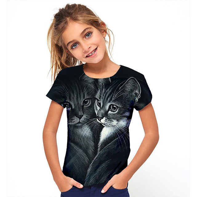 Kids Girls' T shirt Tee Short Sleeve Cat Animal Black Children Tops Basic Holiday Cute