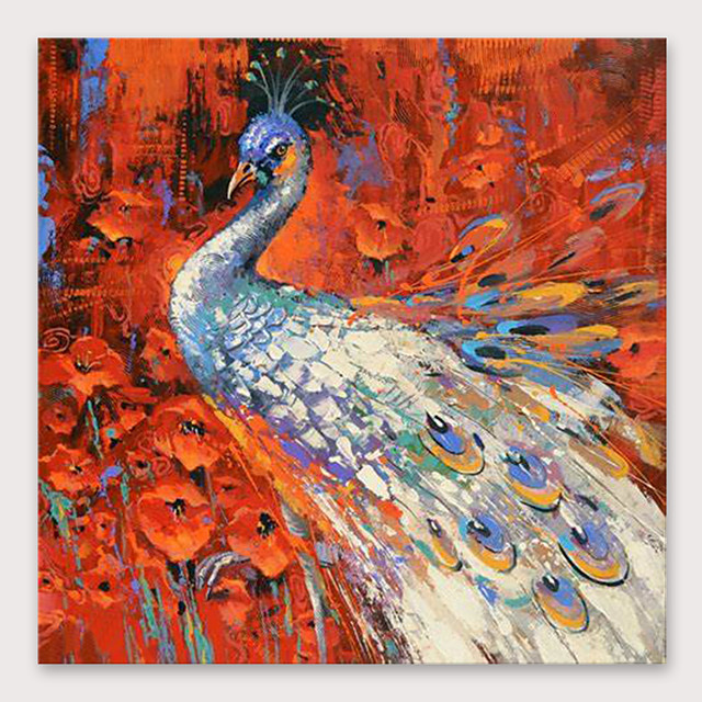 IARTS®Hand Painted Beautiful peacock Oil Painting   with Stretched Frame For Home Decoration