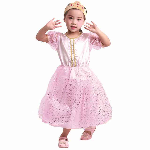 Princess Princess Peach Dress Girls' Movie Cosplay Pink Dress Halloween Children's Day Polyester Organza