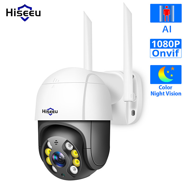 Hiseeu WHD812B 1080P Speed Dome WIFI Camera 2MP Outdoor Wireless 4x Digital Zoom PTZ IP Camera Cloud-SD Slot 2-Way Audio Network CCTV Surveillance