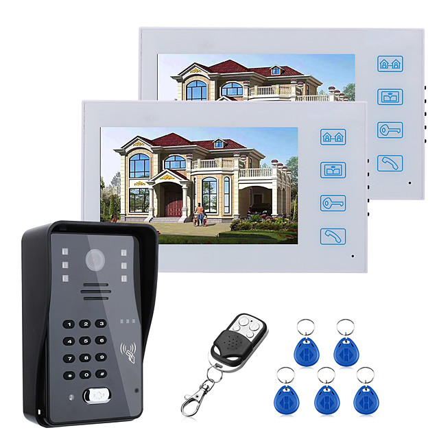 7inch Two Monitors Video Door Phone Intercom Doorbell With RFID Password IR-CUT 1000TV Line Camera  Wireless Remote Access Control System