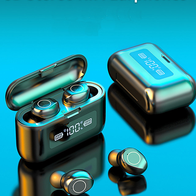 LITBest F9-218 TWS Wireless Earbuds 2000mAh Large Power Charging Box Mobile Power For Smartphones Touch Control Earphone Bluetooth LED  Digital Display Hi-fi Sound Quality Waterproof Headset For Sport