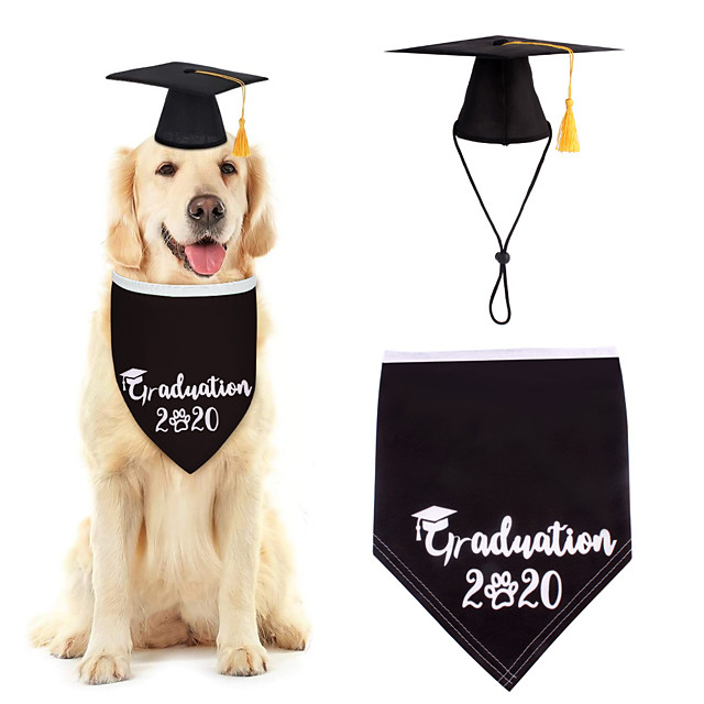 Dog Cat Bandanas & Hats Dog Bandana Dog Bibs Scarf Letter & Number Casual / Sporty Cute Christmas Birthday Dog Clothes Adjustable Black Costume Cotton Polyster