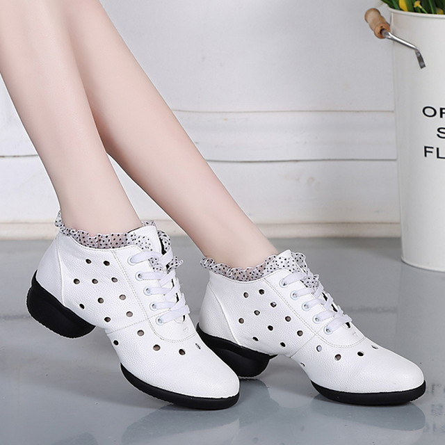 Women's Dance Sneakers Leather Heel Thick Heel Dance Shoes White / Black / Red