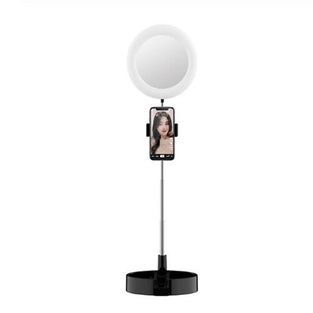 Folding 6'' LED Ring Light Tricolor Fill Light For Selfie Makeup Photography Video Live Stream Lamp Stand Mobile Phone Stand