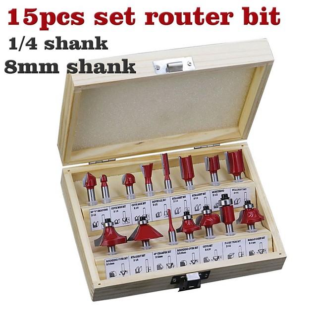 15 Piece Cutter Set 1/4 Shank Red