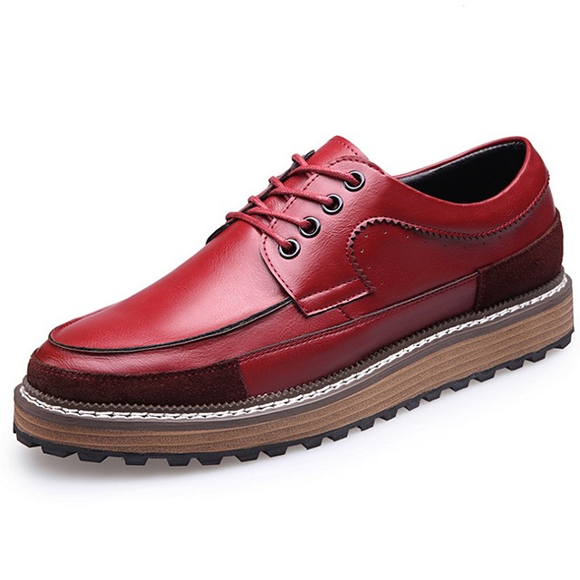 Men's Summer Daily Oxfords Leather Black / Yellow / Red