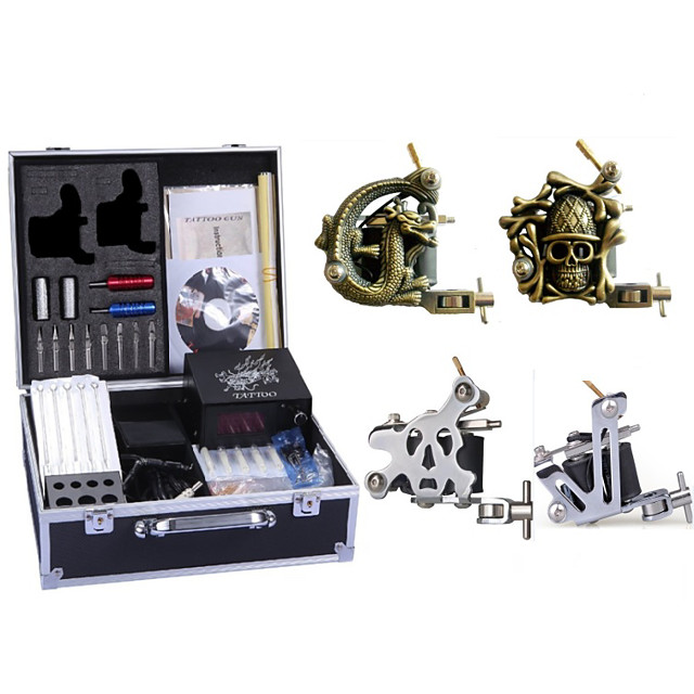 4 Tattoo Machines with power supply, 50 tattoo needles , tips & needles complete tattoo kit at such affordable price is a must option for you.