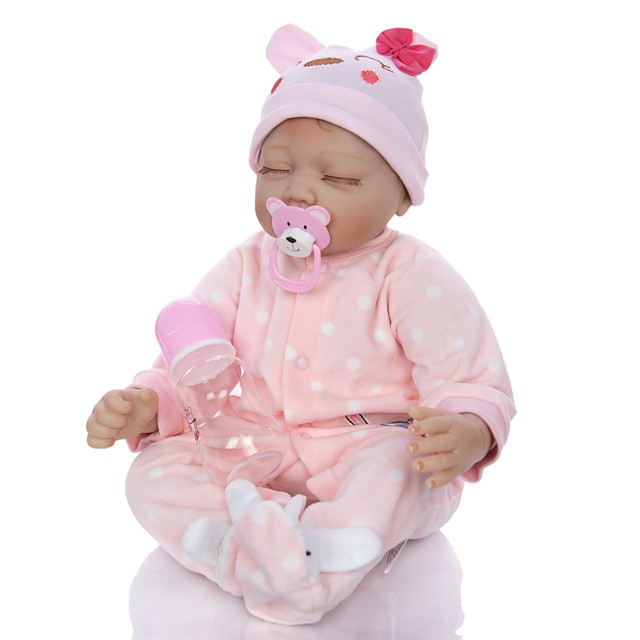 KEIUMI 22 inch Reborn Doll Baby & Toddler Toy Reborn Toddler Doll Baby Girl Gift Cute Lovely Parent-Child Interaction Tipped and Sealed Nails 3/4 Silicone Limbs and Cotton Filled Body 22D65-C36-H94