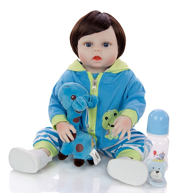 KEIUMI 19 inch Reborn Doll Baby & Toddler Toy Reborn Toddler Doll Baby Boy Gift Cute Washable Lovely Parent-Child Interaction Full Body Silicone 19D11-C24-S08-T06 with Clothes and Accessories for