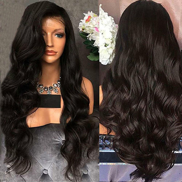Synthetic Wig Curly Wavy Middle Part Wig Long Black Synthetic Hair 26 inch Women's Fashionable Design Party Comfortable Black