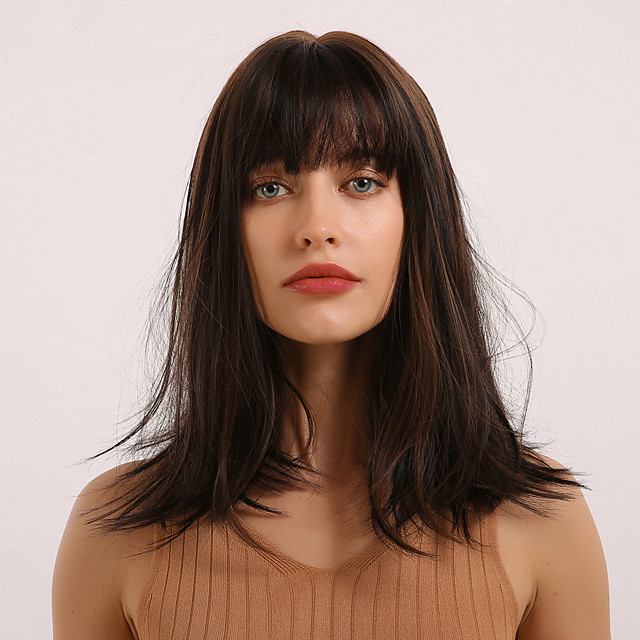 Synthetic Wig Bangs Straight Natural Straight Side Part Neat Bang With Bangs Wig Medium Length Dark Brown Synthetic Hair 18 inch Women's Cosplay Women Synthetic Dark Brown BLONDE UNICORN