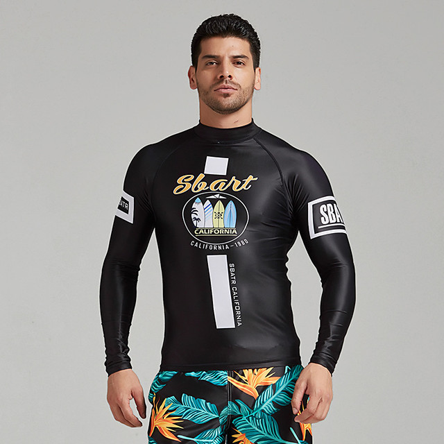Men's Rash Guard Elastane Top Breathable Quick Dry Long Sleeve Swimming Diving Water Sports Autumn / Fall Spring Summer / Stretchy