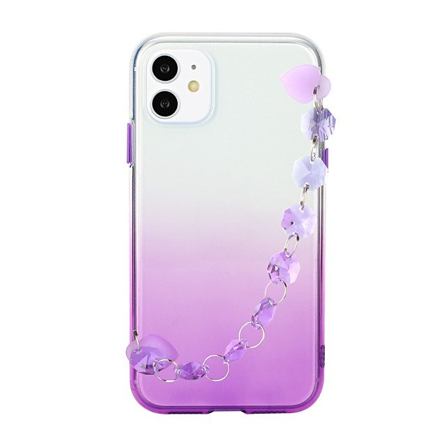 Case For Apple iPhone SE 2020 iPhone 11 Pro iPhone 11 Pro Max XR XS Max X 7 8 Plus 6 6s Plus Ultra-thin Transparent Back Cover Color Gradient TPU with Crystal Bracelet