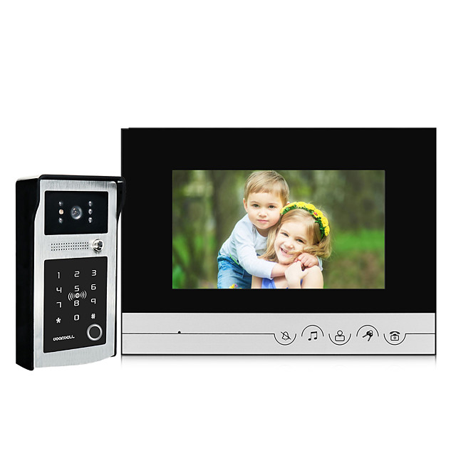 7 inch Screen Indoor Monitor Wired Video Door Phone Fingerprint IC Card Password Unlock Video Doorbell Intercom System with Waterproof Night Vision Wide Angle Camera 120