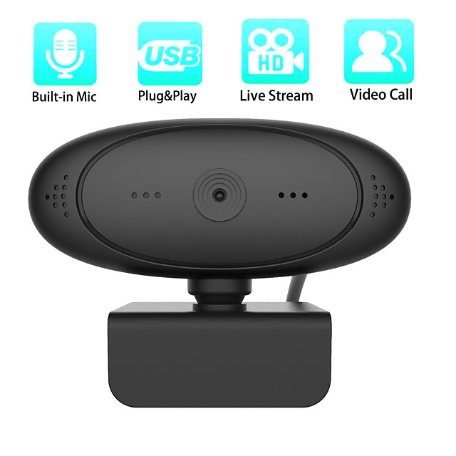 1080P HD Webcam Rotatable Cameras Mini Computer PC WebCamera with Microphone for Live Broadcast Video Recording Conference Work