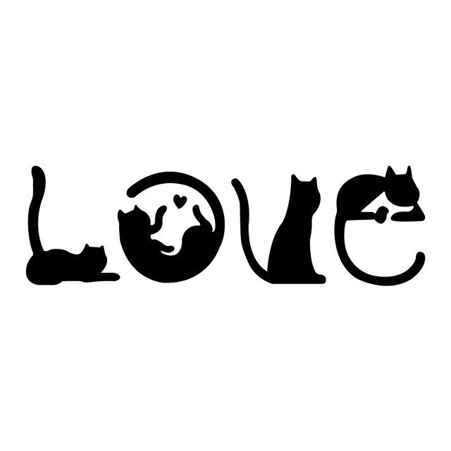 Creative LOVE Cartoon Cat Wall Sticker Bedroom Home Decoration Self Adhesive Switch Door Sticker