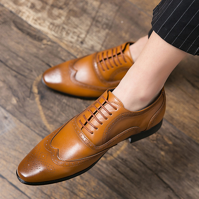 Men's Summer / Fall Classic / Preppy Daily Outdoor Oxfords Walking Shoes Leather Breathable Non-slipping Wear Proof Light Brown / Dark Brown / Black