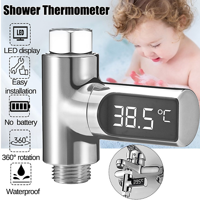 Digital Water Temperature Meter LED Shower Head 0-100 Thermometer Temperature Durabl - Silver