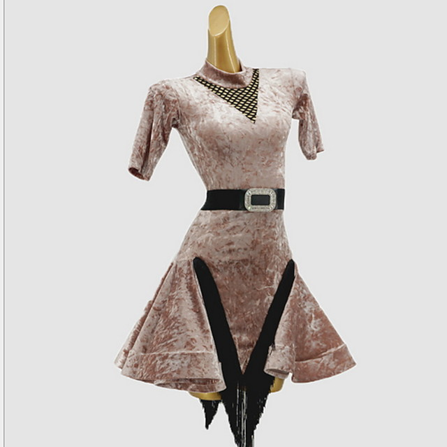 Latin Dance Dress Sash / Ribbon Split Joint Girls' Training Daily Wear Short Sleeve Cotton