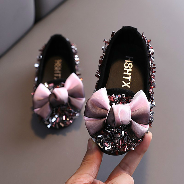 Girls' Flats Comfort PVC Glitter Crystal Sequined Jeweled Toddler(9m-4ys) / Little Kids(4-7ys) Walking Shoes Sequin Black / Pink / Silver Summer / Fall / Party & Evening