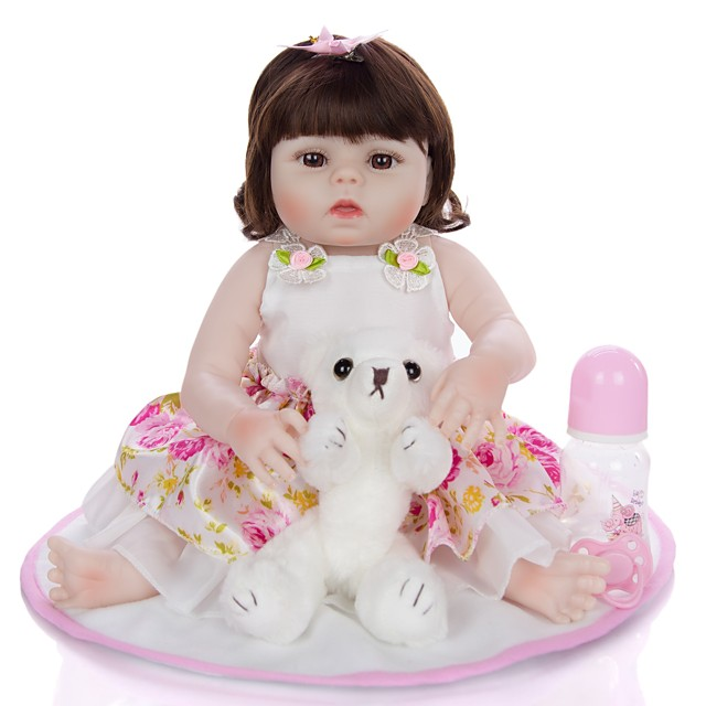 KEIUMI 22 inch Reborn Doll Baby & Toddler Toy Reborn Toddler Doll Baby Girl Gift Cute Washable Lovely Parent-Child Interaction Full Body Silicone 19D09-C387-T22 with Clothes and Accessories for