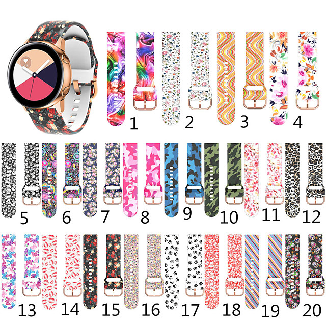 Printed Silicone Strap for Samsung Galaxy Watch Active 2 40mm 44mm / Active 40mm / Watch 42mm Gear Sport / Gear S2 Classic Smart Watch Bracelet Bands