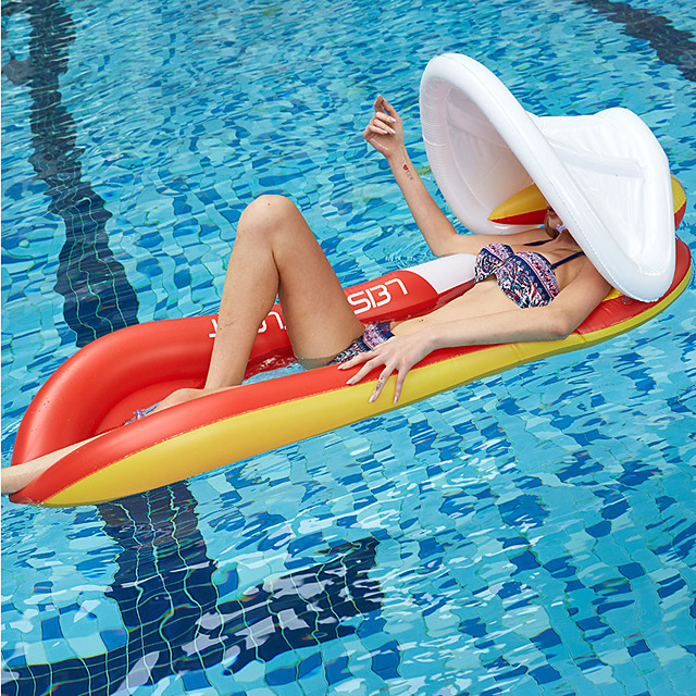 Inflatable Pool Float Pools & Water Fun Water Lounge Floating with Sunshade Canopy PVC Summer Holiday Swimming Pool Party Kid's Adults'