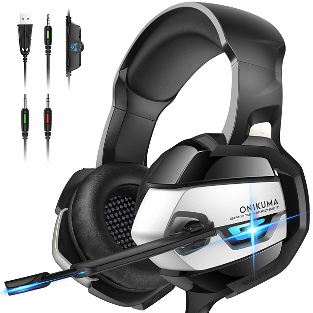 ONIKUMA Gaming Headset K5 - XboxOne Headset PS4 Headset PC Headset with Noise Canceling Mic &7.1 Surround Bass, Gaming Headphones for PS4, XboxOne, PC,Gamecube ,Nintendo64 (Adapter Not Included)