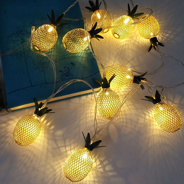 3M 20LEDs Pineapple LED String Lights Creative Three Section 5th Battery-Powered Fairy Light Christmas Wedding Garden Party Family Party Room Decoration Pendant Without Battery