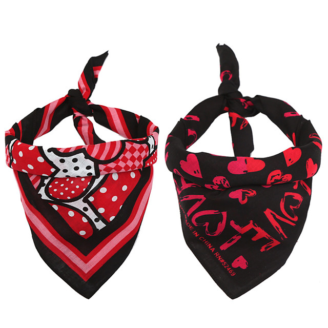 Dog Cat Bandanas & Hats Dog Bandana Dog Bibs Scarf Cartoon Party Cute Christmas Wedding Dog Clothes Adjustable Costume Cotton M