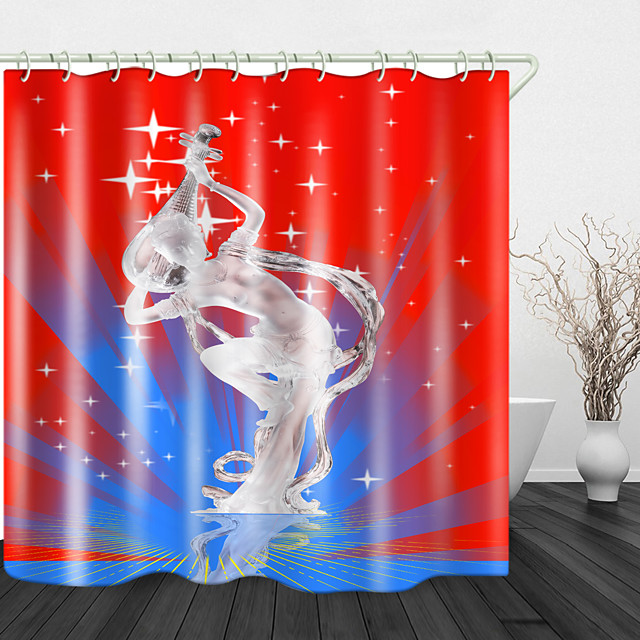 Stage Art Performance Digital Print Waterproof Fabric Shower Curtain For Bathroom Home Decor Covered Bathtub Curtains Liner Includes With Hooks