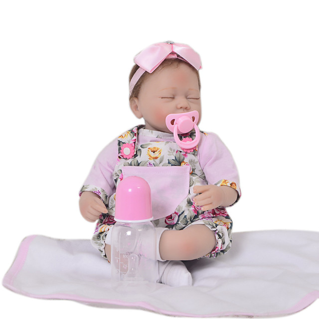KEIUMI 16 inch Reborn Doll Baby & Toddler Toy Reborn Toddler Doll Baby Girl Gift Cute Lovely Parent-Child Interaction Tipped and Sealed Nails 3/4 Silicone Limbs and Cotton Filled Body 17D23-C377-T01