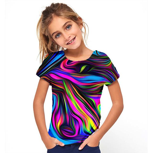 아동 여아 T 셔츠 티셔츠 짧은 소매 3D 인쇄 그래픽 3D 인쇄 컬러 블럭 기하학 크루 넥 딥 블루 네이비 로즈 블랙 어린이 탑스 여름 베이직 패션 스트리트 쉬크 운동용 캐쥬얼