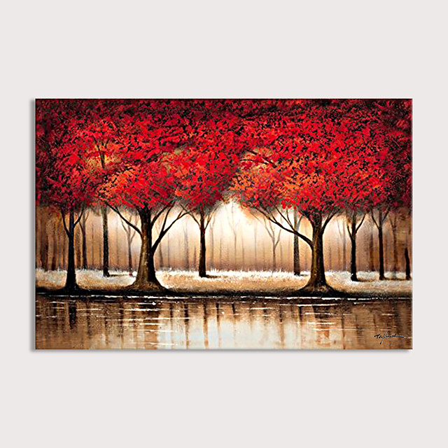 Large Abstract Forest Wall Art Hand Painted Modern Red Tree Oil Painting on Canvas Rolled Without Frame