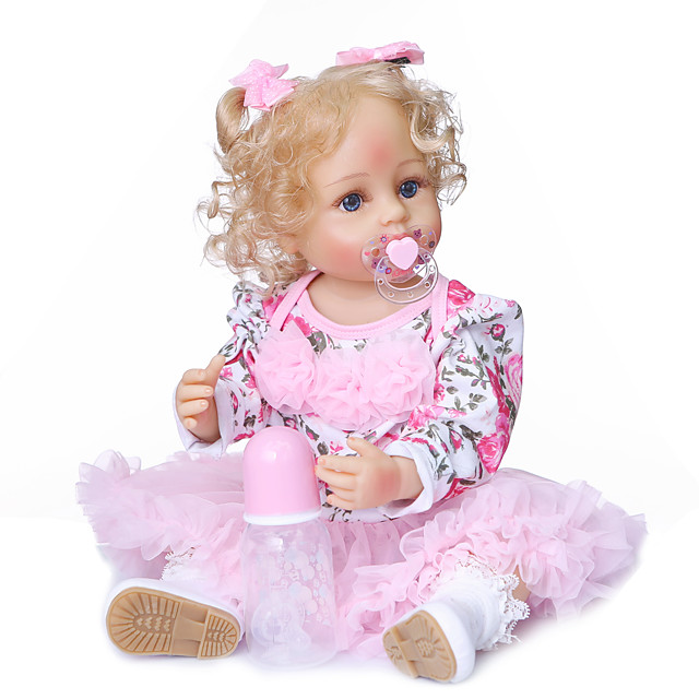 NPKCOLLECTION 20 inch Reborn Doll Baby Girl Gift Artificial Implantation Blue Eyes Artificial Implantation Brown Eyes Full Body Silicone Silicone Silica Gel with Clothes and Accessories for Girls