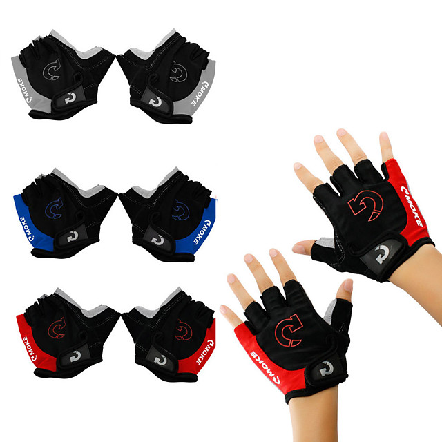 Bike Gloves / Cycling Gloves Mountain Bike Gloves Mountain Bike MTB Road Bike Cycling Anti-Slip Breathable Padded Wearproof Fingerless Gloves Half Finger Sports Gloves Terry Cloth Lycra Yellow Red