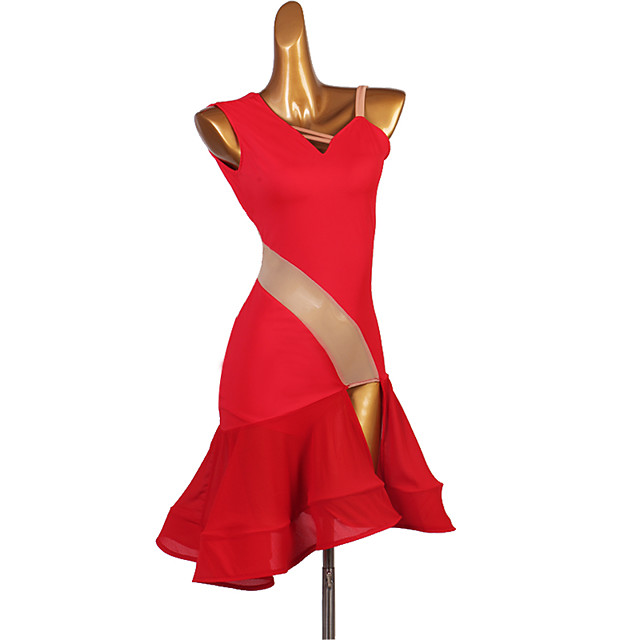 Latin Dance Dress Cascading Ruffles Women's Training Performance Sleeveless High Spandex