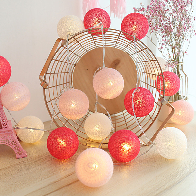 3M 20LED Cotton Ball Lamp Garland LED String Lights Battery Powered Christmas Fairy Lights Wedding Party Bedroom Outdoor Holiday Party Decoration Without Battery