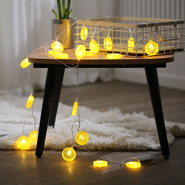 2M 10LED Fairy Lights LED Orange Lemon String Lights Battery Powered Christmas Garland Display Window New Year Wedding Family Party Decoration Without Battery
