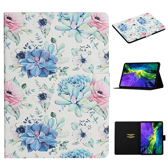 Case For Apple iPad 10.2 iPad Pro 11 2020 iPad Air 10.5 2019 Card Holder with Stand Pattern Full Body Cases Flower PU Leather iPad Mini 12345 2017 2018