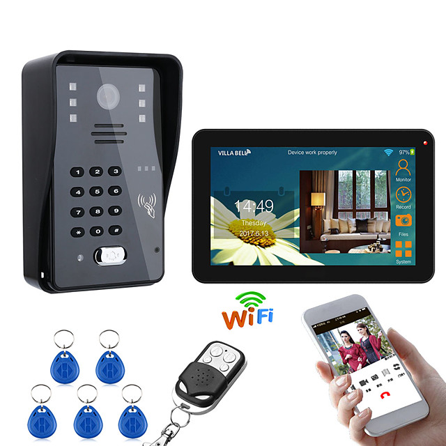 9 Inch Wired / Wireless Wifi RFID Password Video Door Phone Doorbell Intercom Entry System With IR-CUT 1000TVL Wired Camera Night VisionSupport Remote APP UnlockingRecordingSnapshot
