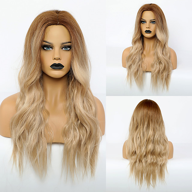 Synthetic Wig Body Wave Middle Part Wig Very Long Synthetic Hair 28 inch Women's Fashionable Design Life Women Blonde