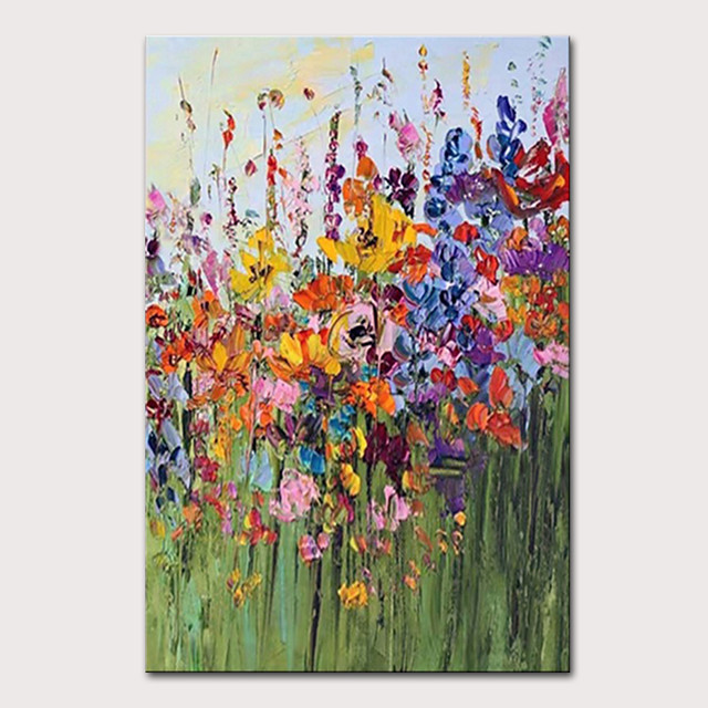 Mintura Hand Painted Modern Abstract Knife Flowers Oil Painting on Canvas Wall Picture Pop Art Posters For Home Decoration Ready To Hang